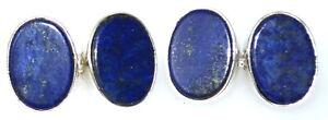Sterling 925 SILVER Blue Lapis Lazuli Mens Cufflinks Oval Chain Cuffs Gemstone