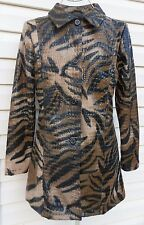 NEW women's SELENE fitted long trench zebra jacket coat S