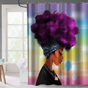 African Black Women Shower Curtain Girl w/ Purple Hair Afro Hairstyle Home Decro
