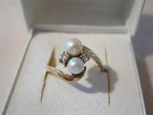 Ring Damenring  2 Perlen 2 Brillanten Gelbgold 585 RG 57