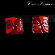 Paire de boucles d'oreilles à clip carré émaillé rouge, orange et violet 2 cm