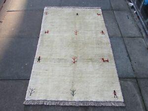 Vintage Traditional Hand Made Oriental Cream White Wool Gabbe Rug 144x97cm