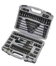 Socket Set 99-Piece Tools Ratchet Metric SAE Stanley Black Chrome Laser Etched