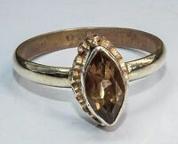 Sterling Silver Traditional Asian Vintage Style Smoky Quartz Ring Size Q1/2 Gift