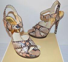 New $185 Michael Kors Odessa Sandal Peanut Embossed Snakeskin Leather sz 9
