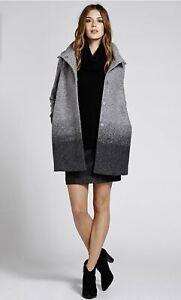 Mint Velvet Ombre Grey Wool Blend Coat Size 12 Winter
