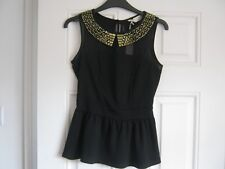 Black top, gold studded collar, Size 6, Dorothy Perkins, New with tags