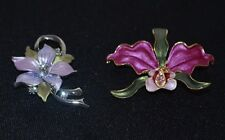 2 Pretty Flower Pins Brooches - Purple Orchid, Violet, Crystals, Enamel