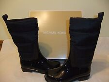 MICHAEL KORS Cabot Quilted Black Knee High Rain Boots Size 8 EU 38.5 NIB $165