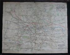 "1935 George Philip London & Suburbs Railway Map (50"" x 40"")"
