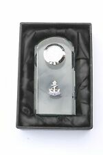 Royal Navy Anchor Military Crystal Glass Mantel / Bedside Desk Clock BGK1