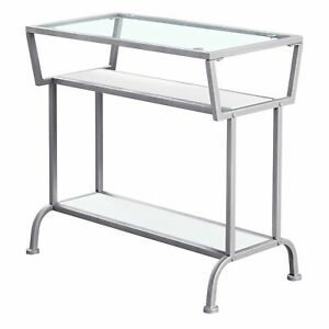 """12"""" x 24"""" x 22"""" White Accent Table in Silver Metal with Clear Tempered Glass"""