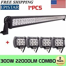 52INCH 300W Combo LED Work Light Bar + 4Pcs 4'' inch 18W Truck Offroad Fog Lamp
