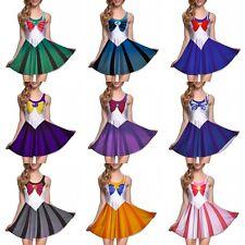 Милые женские плиссированные платье сейлор мун печатные косплей без рукавов тонкий мини-платье
