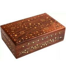 The Great Indian Bazaar Handmade Floral Brass Inlay 8-Inch-by-5-Inch Wooden Box
