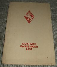 Original 1928 Passenger list and information for R.M.S. Carinthia  Cunard Line