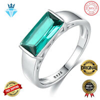Luxury Green Topaz Genuine 925 Sterling Silver Engagement Women Ring