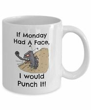 Monday Job Coffee Mug, Novelty 11oz White Ceramic Frustrated Workers Tea Cup
