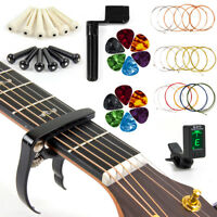 Guitar Strings Changing Kit Tuner Picks Capo Cutter Winder All in 1 Package
