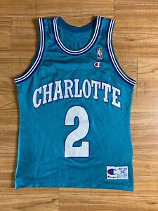 Vintage Champion Charlotte Hornets #2 Larry Johnson jersey size 36 made in USA