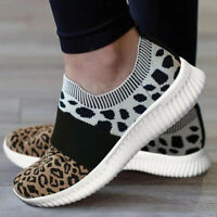 WOMENS LADIES SNEAKERS KNIT TRAINERS SLIP ON Leopard SPORT CASUAL RUNNING SHOES