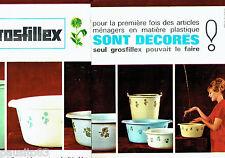PUBLICITE ADVERTISING 1016  1963  Grosfillex (2p)   seaux bassines plastique déc