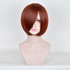Synthetic Fiber Straight Short Bob Auburn Dyed Hair Dark Red Wig Wigs for Women