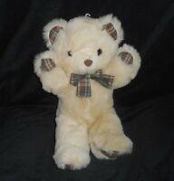 "14"" VINTAGE LEMONWOOD ASIA TAN TEDDY BEAR PLAID HANDS STUFFED ANIMAL PLUSH TOY"