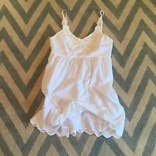 L New ANTHROPOLOGIE Women's White Eyelet Lace Crochet Boho Summer Dress LARGE