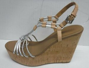 Coach Size 9.5 Tan Silver Leather Wedge Heels New Womens Shoes