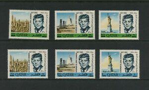 G044 Qatar 1966 Jfk Kennedy Surcharged 6v. MNH