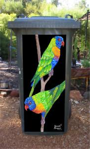 'Rainbow Nomads' birds wheelie bin sticker