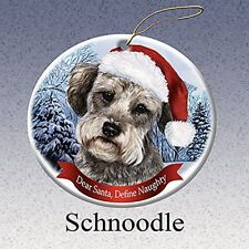 Holiday Pet Gifts Schnoodle Santa Hat Dog Porcelain Christmas Tree Ornament