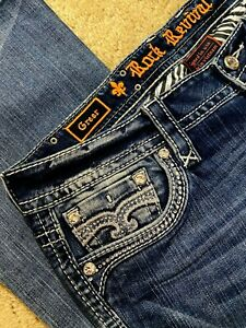 Rock Revival Greer Boot EP2622B203L Denim women jeans size 30 X 34 - NEW