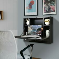 Wall Mounted Floating Folding Computer Desk Laptop Table w/ Bookshelf Home Black