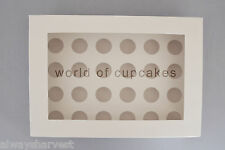 24 Hole 4.5 cm Diameter Mini Cupcake Cup Cakes Clear Window Box Boxes set of 10