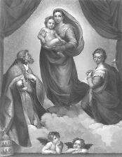 BABY JESUS CHRIST MADONNA DI SAN SISTO, 1860 RAPHAEL Antique Art Print Engraving