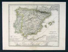 1879 Stieler Map Spain Portugal Gibraltar Lisbon Madrid
