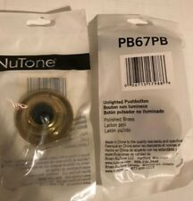 NuTone PB67PB Round Polished Brass Push Button Door Bell