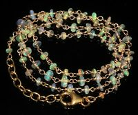 925 sterling silver wire wrapped Ethiopian opal 2 to 3.5 mm beads necklace