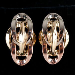 18k Yellow White Rose Gold Tri-Color Style Earrings 7.11g 18.6mm x 6.9mm