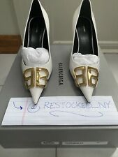 NIB BALENCIAGA BB D'Orsay White Patent Leather Pumps size 38 $950 Retail