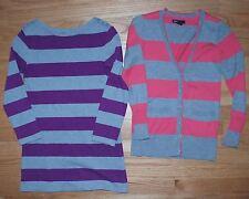 GAP KIDS Girls M 8 - Pink & Gray Cardigan Sweater - Purple & Gray Tunic Striped