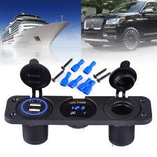 Car ATV Dual USB Charger+Voltmeter+12V Socket+3 Hole Panel Boat Marine Blue LED