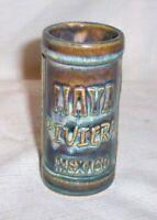 "Riviera Maya Mexico Souvenir Tall POTTERY Shot Glass 3 3/8 "" Tall DRAB GREEN"
