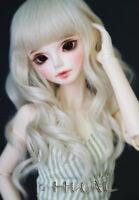 "1/6 6-7"" BJD Doll Wig Light Blonde Curly Wavy Hair Medium Long Cream Color AL-8"