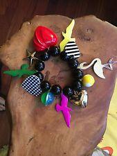 Chunky acrylic resin huge heart & bird & star bracelet Anna Lou style NEW