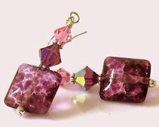 Purple  Lampwork Glass Earrings, Artisan Beads, Crystals