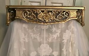 """Shabby Gold Dart Wall Shelf / Bed Crown With Roses. 22.5"""" Wide"""