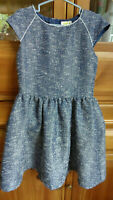 NWT Crazy 8 STYLE ON THE GO Ivory /& Marled Navy Blue S//S Sweater Bow Dress